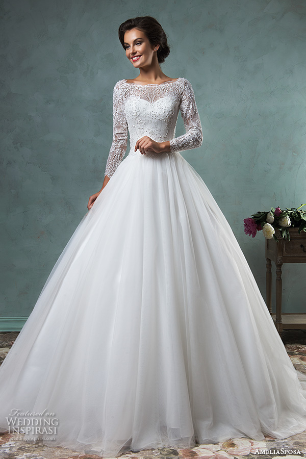 amelia sposa 2016 wedding dresses bateau neckline lace long sleeves beaded embellishment tulle skirt a line ball gown wedding dress jessica
