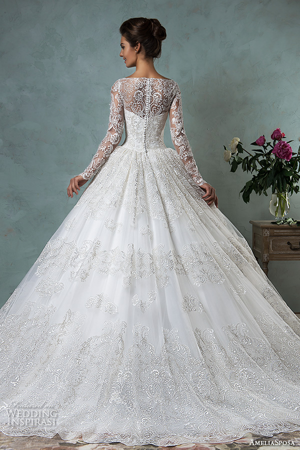 amelia sposa 2016 wedding dresses bateau neckline lace long sleeves beautiful ball gown wedding dress diana back view