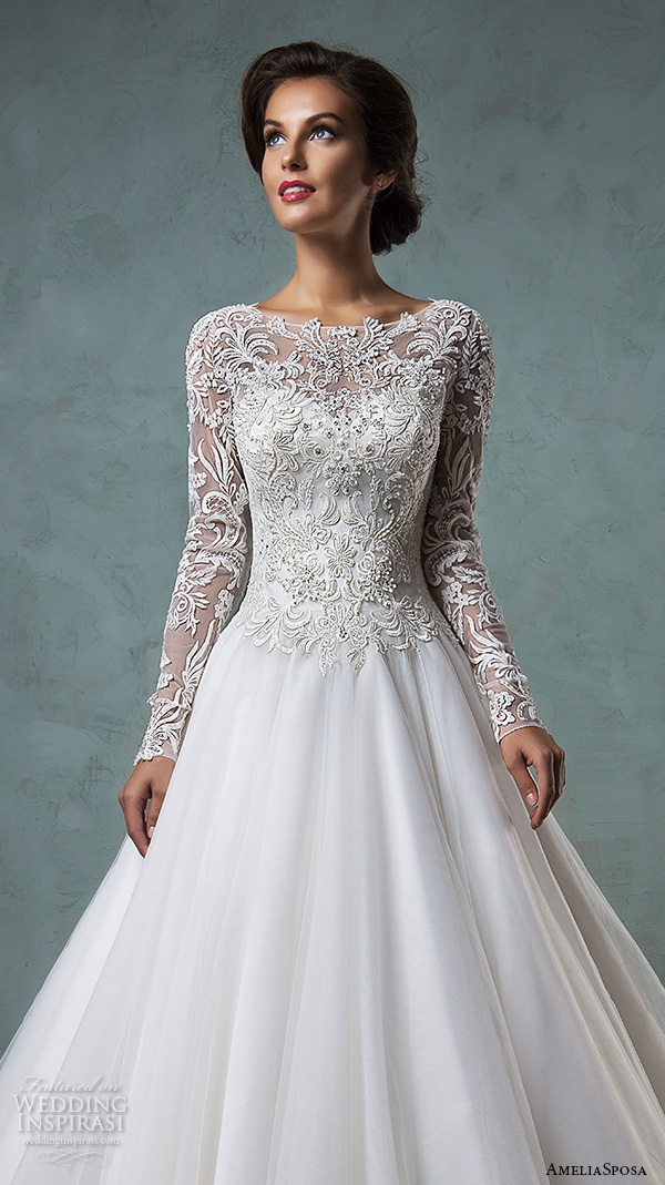 amelia sposa 2016 wedding dresses boat neckline lace long sleeves embroideried bodice beautiful a line ball gown wedding dress leticia close up