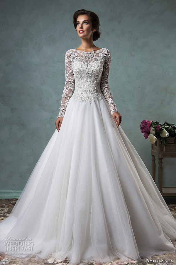 amelia sposa 2016 wedding dresses boat neckline lace long sleeves embroideried bodice beautiful a line ball gown wedding dress leticia