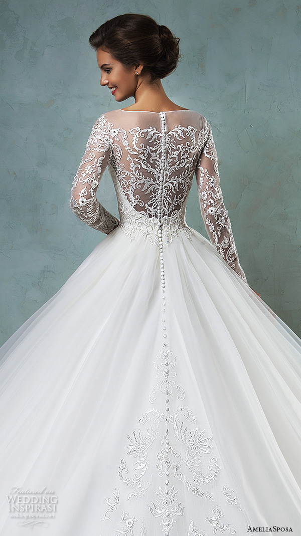 amelia sposa 2016 wedding dresses illusion bateau neckline long sleeves embroideried bodice a line ball gown wedding dress sierra back closeup