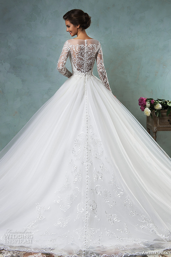 amelia sposa 2016 wedding dresses illusion bateau neckline long sleeves embroideried bodice a line ball gown wedding dress sierra back