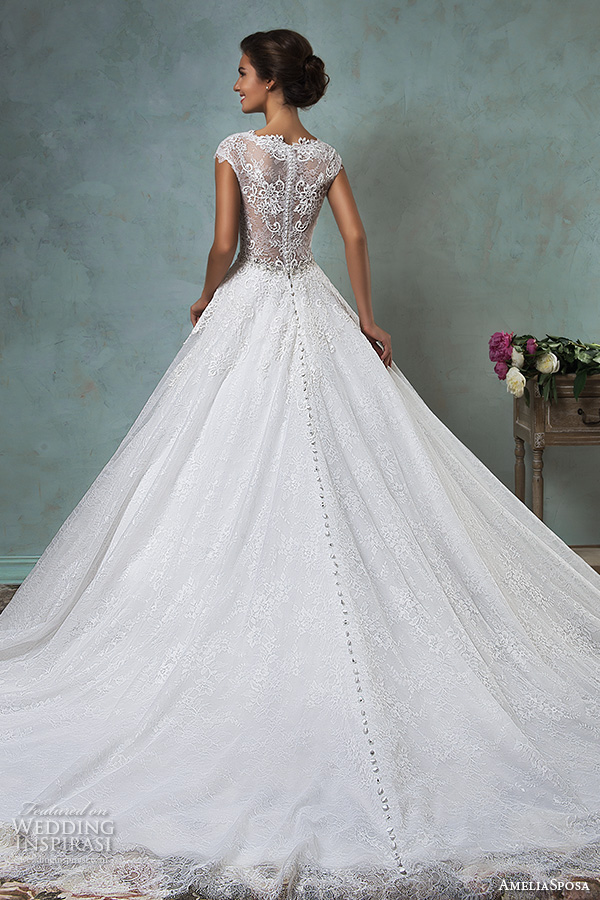amelia sposa 2016 wedding dresses lace cap sleeves  v neckline embroidered lace bodice gorgeous a line ball gown wedding dress dominica back