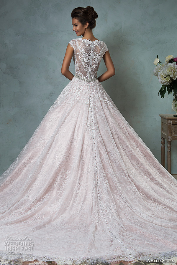 amelia sposa 2016 wedding dresses lace cap sleeves  v neckline embroidered lace bodice gorgeous pink a line ball gown wedding dress dominica back