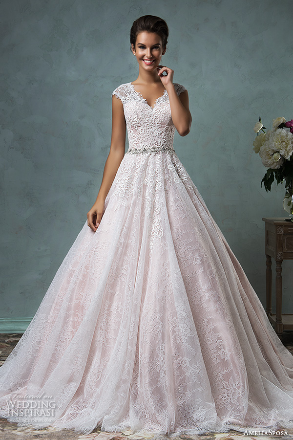 pink lace wedding dress amelia sposa 2016 wedding dresses volume 2 wedding 6585