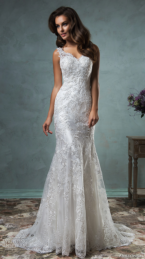 amelia sposa 2016 wedding dresses lace strap v neckline embroidery satin beautiful trumpet fit to flare mermaid wedding dress adelina