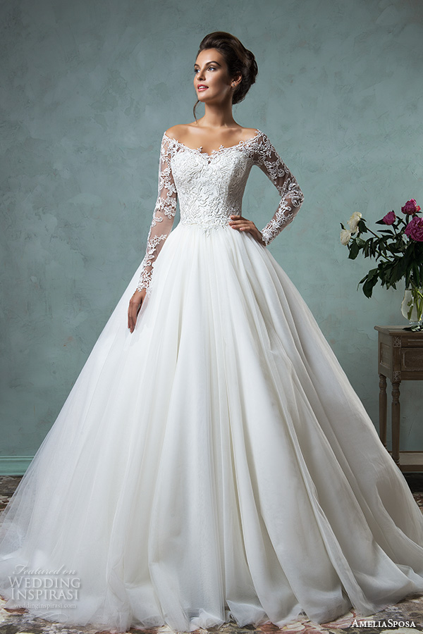 Amelia Sposa 2016 Wedding Dresses Off The Shoulder Lace Long Sleeves Embroidered Bodice Gorgeous A Line