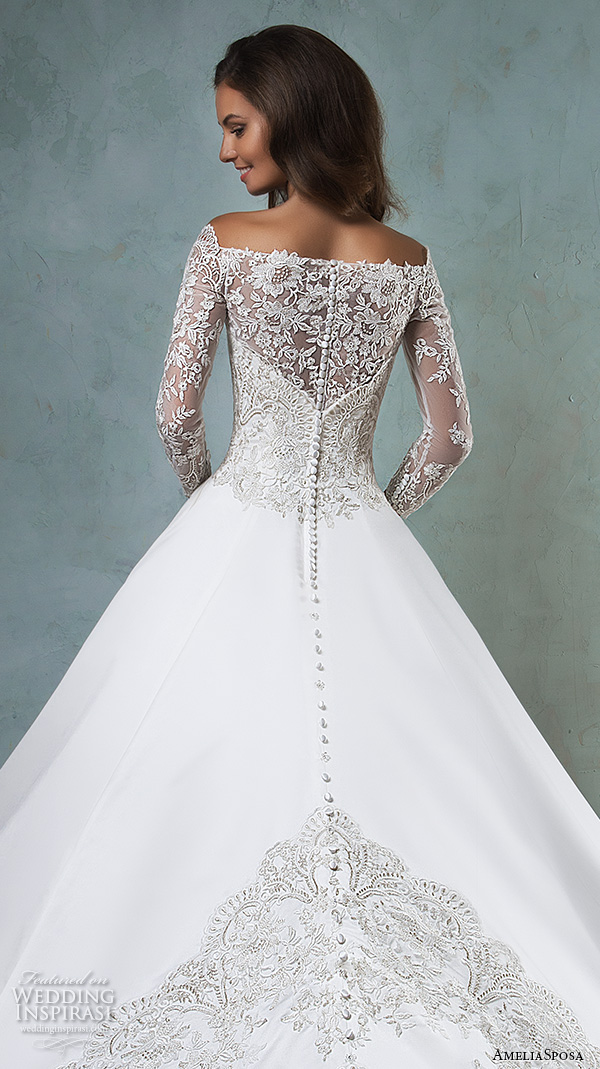 amelia sposa 2016 wedding dresses off the shoulder lace long sleeves embroideried bodice beautiful satin a line ball gown wedding dress canty back view back view