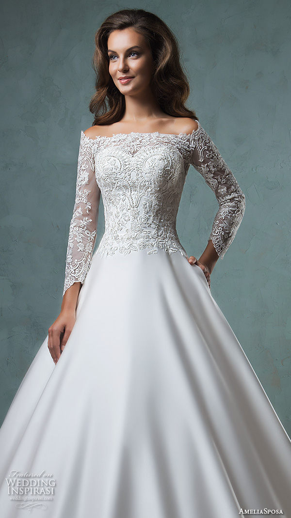 amelia sposa 2016 wedding dresses off the shoulder lace long sleeves embroideried bodice beautiful satin a line ball gown wedding dress canty close up