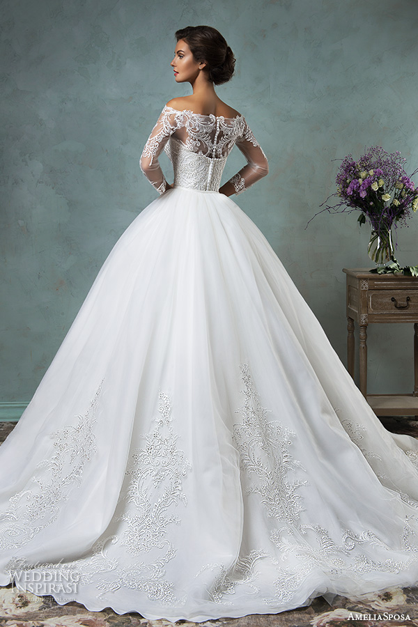 amelia sposa 2016 wedding dresses off the shoulder lace long sleeves overskirt stunning ball gown wedding dress celeste back view