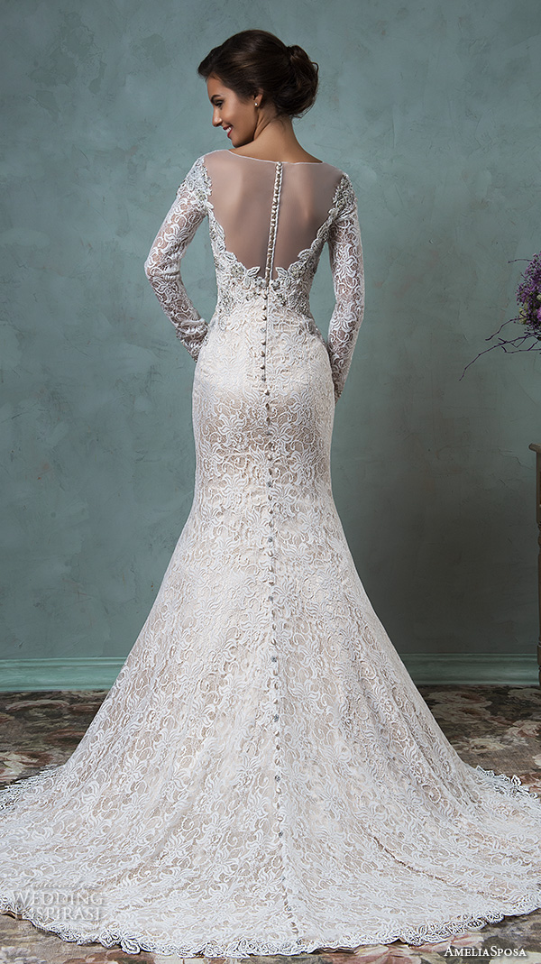 Amelia Sposa 2016 Wedding Dresses Sheer Bateau Neckline Long Sleeves Embroidered Beautiful Champagne Trumpet Mermaid