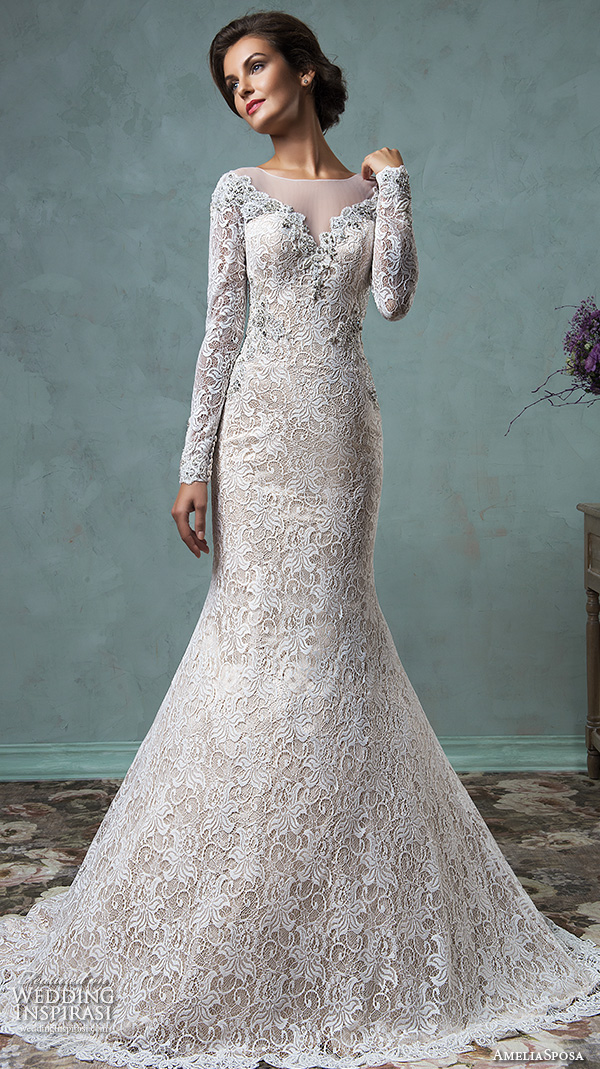 amelia sposa 2016 wedding dresses sheer bateau neckline long sleeves embroidered beautiful champagne trumpet mermaid wedding dress tiffany