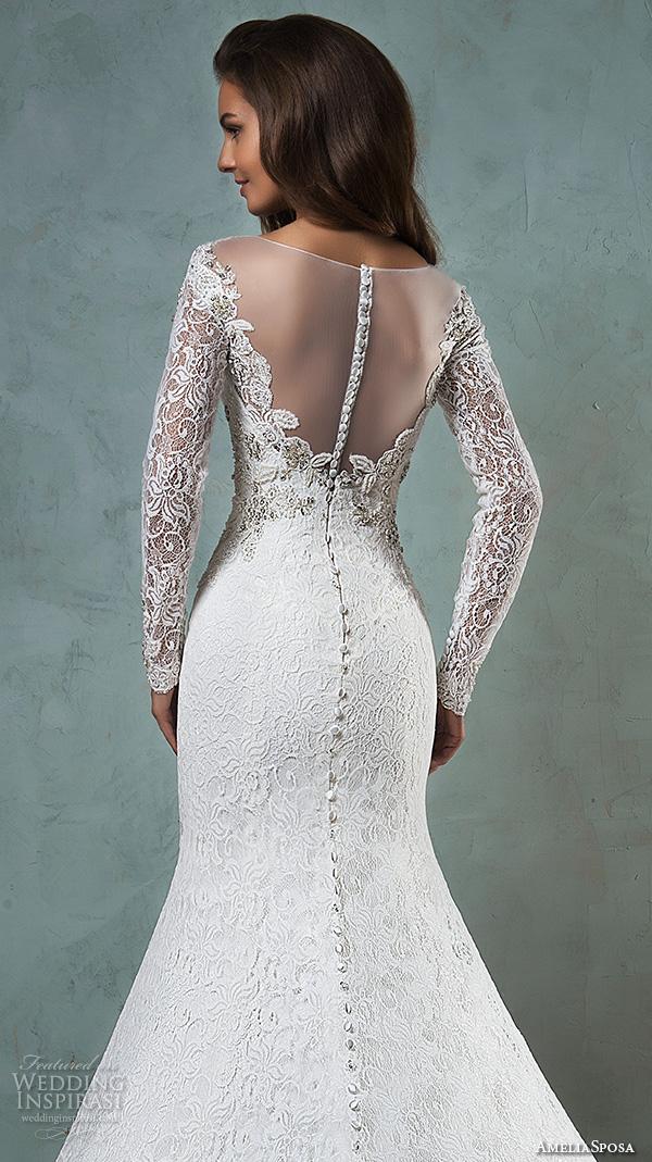 amelia sposa 2016 wedding dresses sheer bateau neckline long sleeves embroidered beautiful trumpet mermaid wedding dress tiffany back closeup