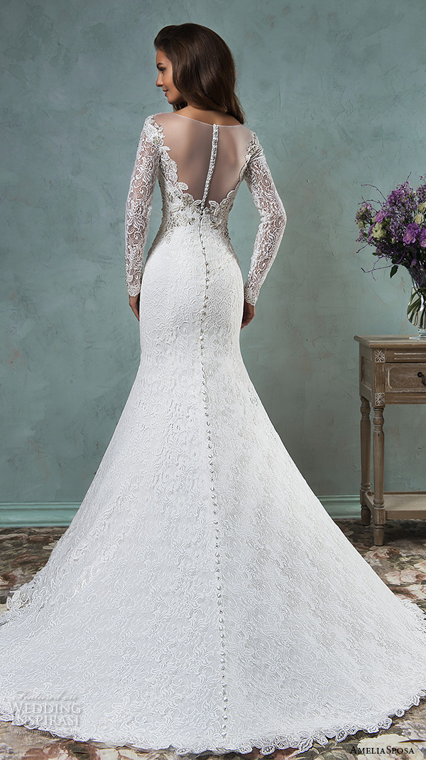 amelia sposa 2016 wedding dresses sheer bateau neckline long sleeves embroidered beautiful trumpet mermaid wedding dress tiffany back