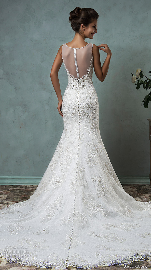 amelia sposa 2016 wedding dresses sleeveless sheer jewel neckline embroidered beautiful trumpet fit to flare meramid wedding dress victoriya back view