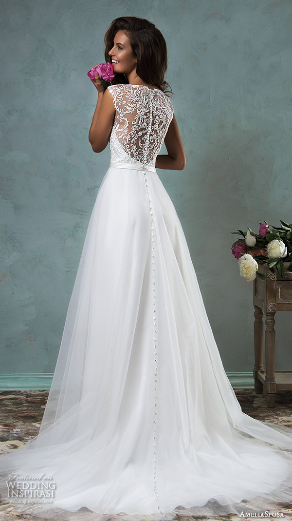 amelia sposa 2016 wedding dresses sleeveless thick lace strap embroidered lace bodice tulle skirt pretty a line gown etna back view