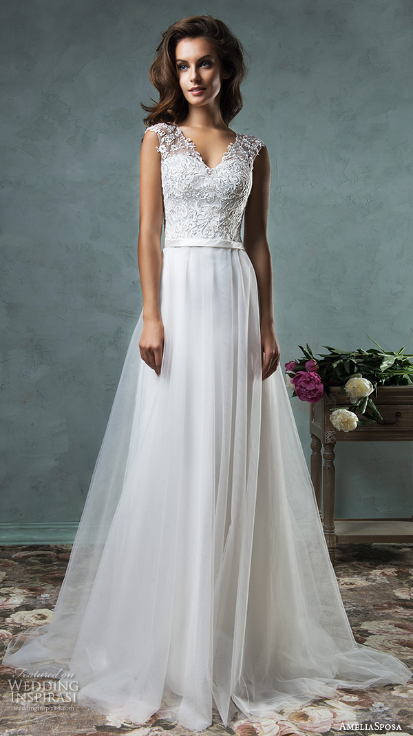 amelia sposa 2016 wedding dresses sleeveless thick lace strap embroidered lace bodice tulle skirt pretty a line gown etna