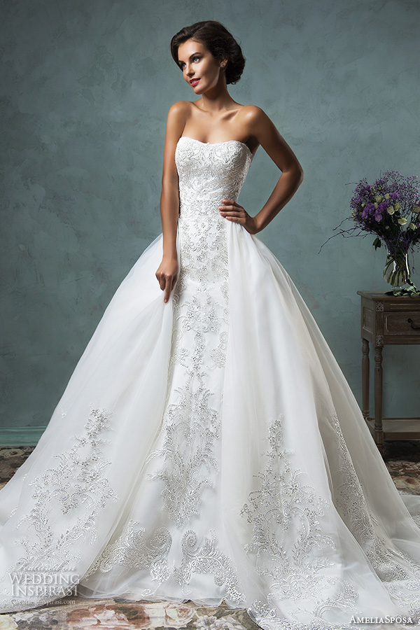 amelia sposa 2016 wedding dresses strapless semi sweetheart neckline overskirt stunning ball gown wedding dress celeste