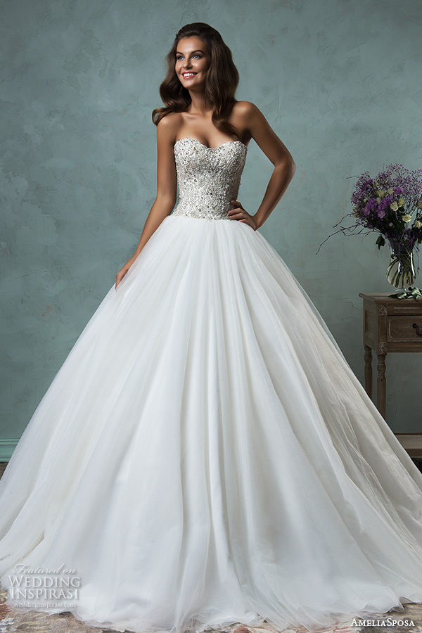 amelia sposa 2016 wedding dresses strapless sweetheart neckline beaded bodice romantic pretty a line ball gown wedding dress lauretta