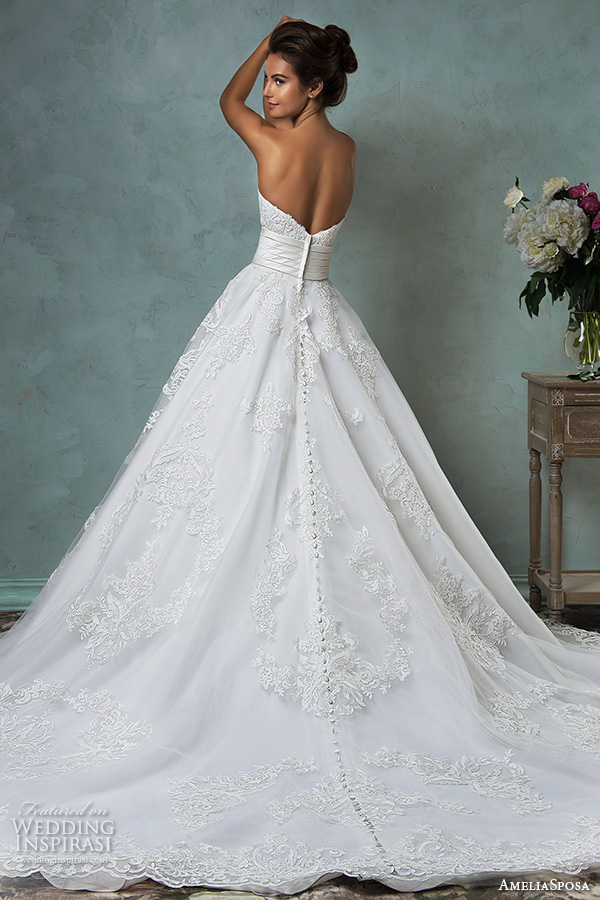 amelia sposa 2016 wedding dresses strapless sweetheart neckline embroideried stunning a line ball gown wedding dress arcellia back view