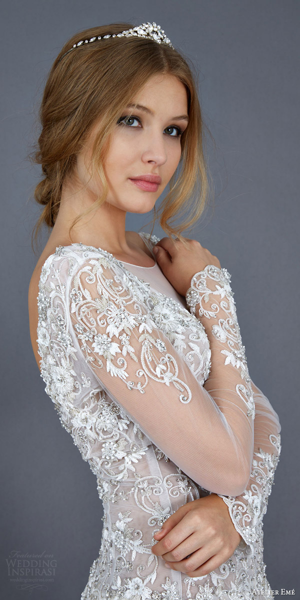 atelier eme 2016 bettina colored ball gown wedding dress illusion long sleeves close up bodice princess