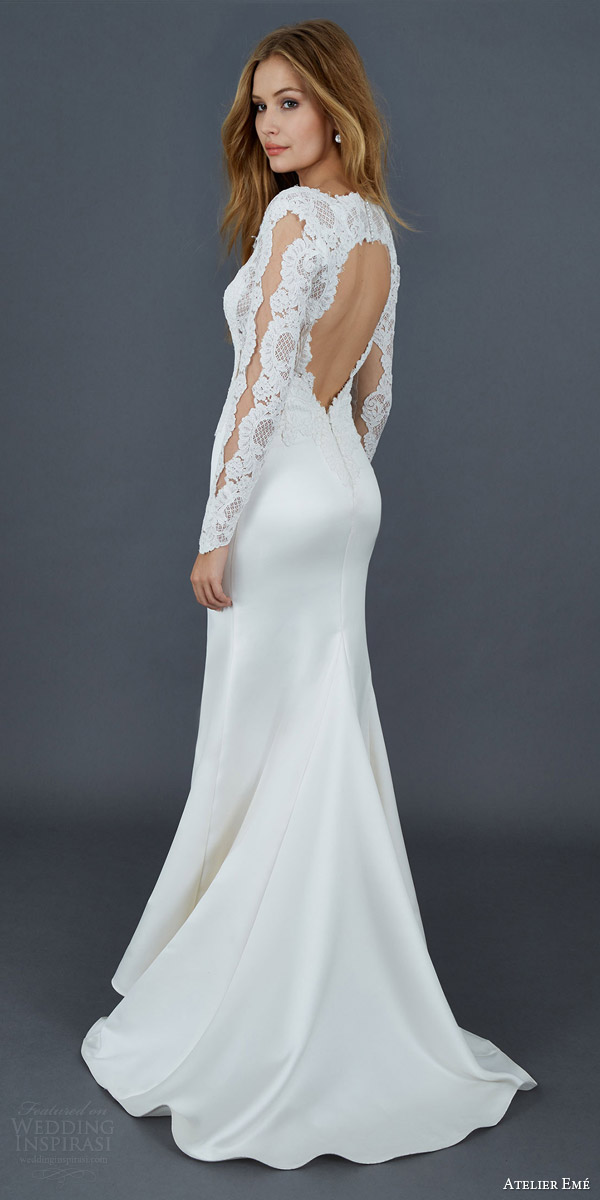 atelier eme 2016 roberta mermaid lace wedding dress illlusion long sleeve close up sensual bodice keyhole back view train