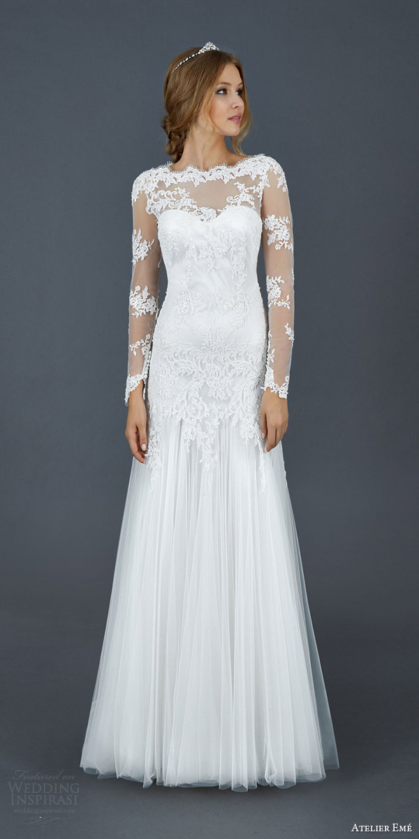 atelier eme 2016 roseto illusion long sleeve scallope lace neckline wedding dress
