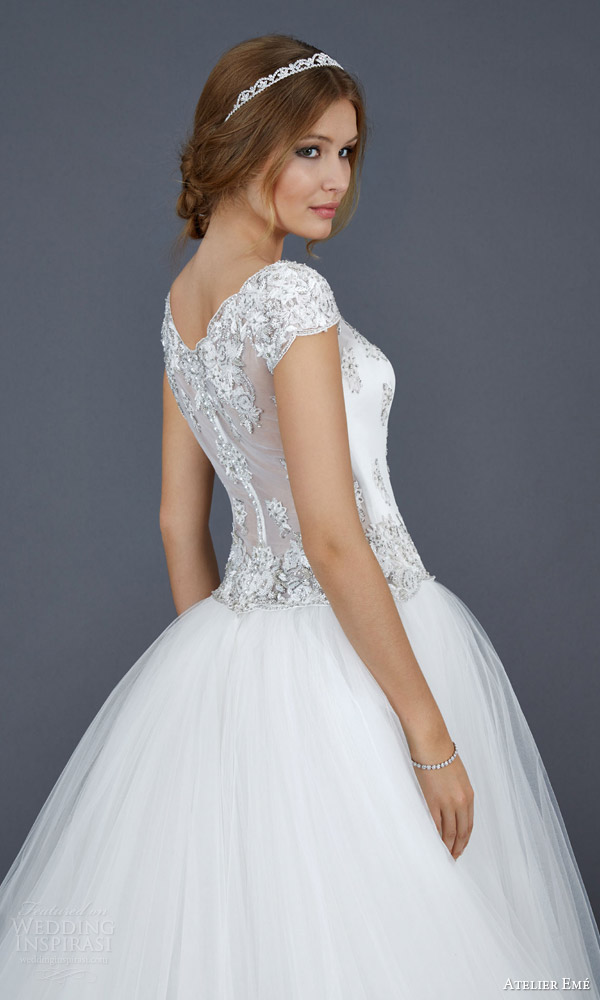 atelier eme aimee 2016 elide cap sleeve ball gown wedding dress illusion back view close up