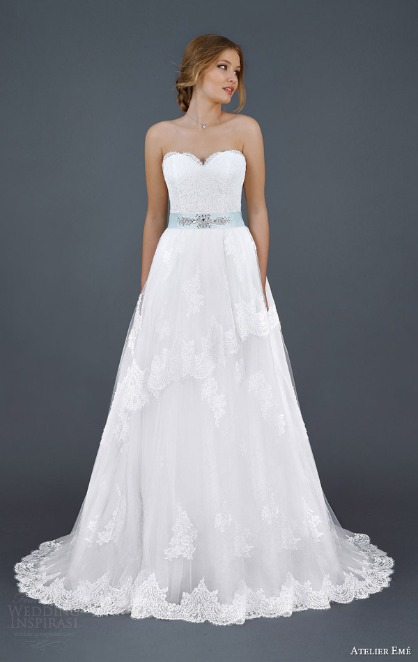 atelier eme aimee 2016 strapless lace wedding dress beaded tiffany blue sash belt style fyamp011