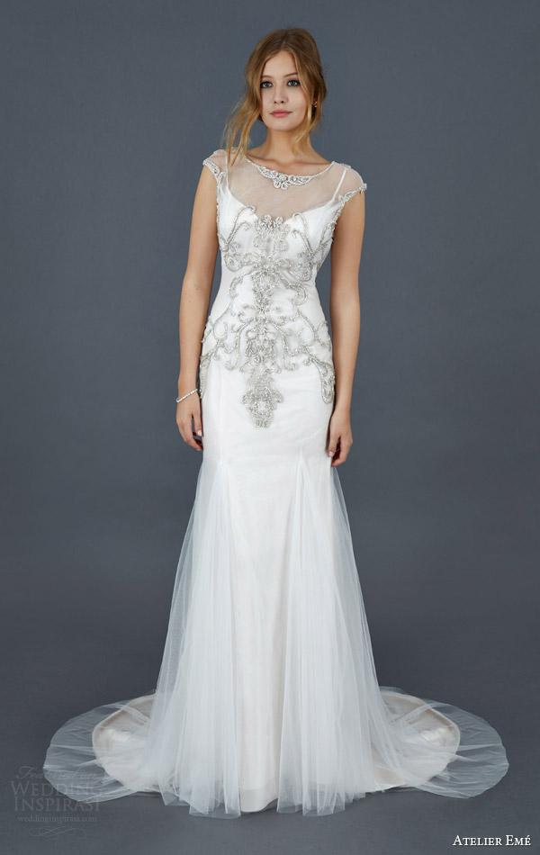 atelier eme bridal 2016 illusion cap sleeve beaded bodice wedding dress style fysir010