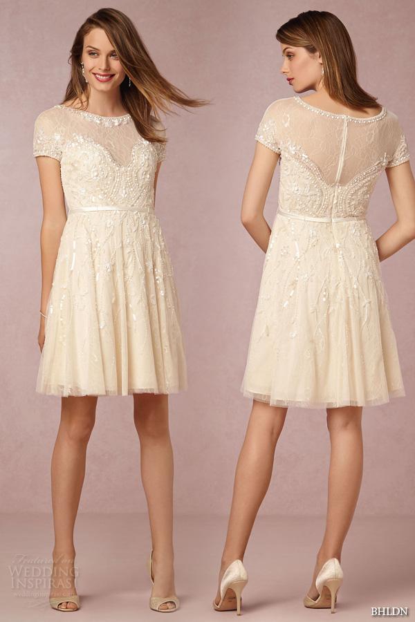 Bhldn fall 2015 wedding dresses twice enchanted for Short beaded wedding dress