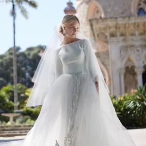 bhldn fall 2015 wedding dresses boat bateau neckline silk crepe 3 4 quater sleeves tulle skirt low cut back ivory a line dress grace full