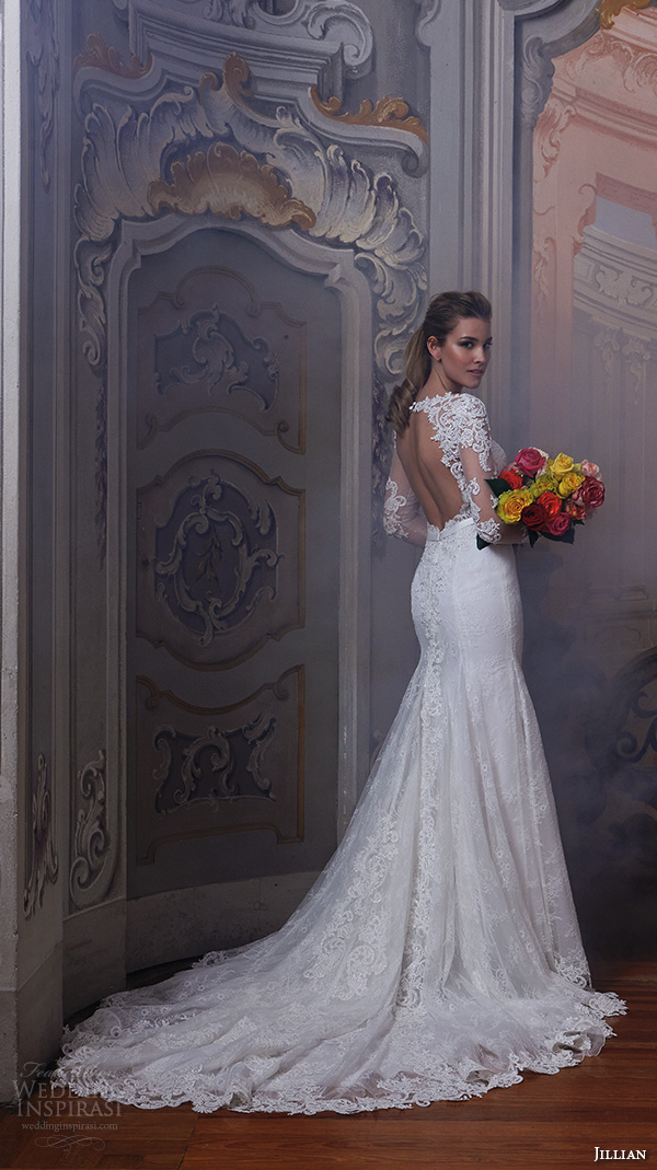 6053ea8f8bfb jillian 2016 wedding dresses jewel lace neckline lace sheer long sleeves  embroideried bodice slim fit stunning.