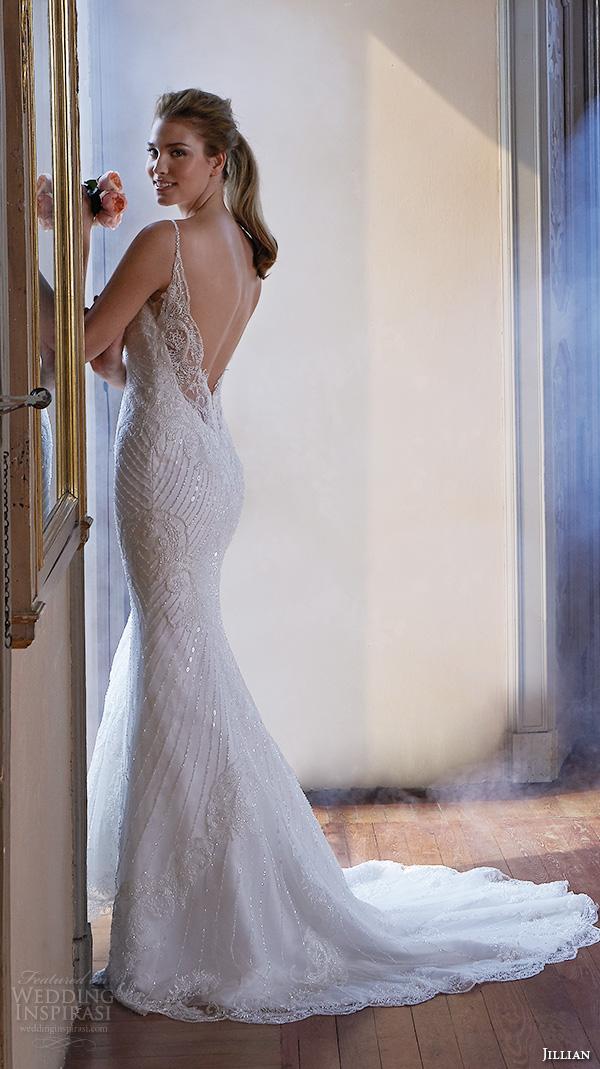 Jillian 2016 Wedding Dresses Spagetti Strap V Neckline Slim Fit Embellished Trumpet Beautiful Mermaid Dress