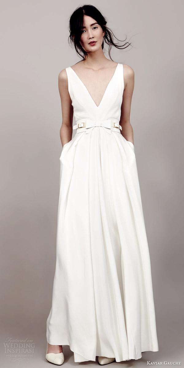 kaviar gauche couture bridal 2015 duchesse wedding dress sleeveless v neckline