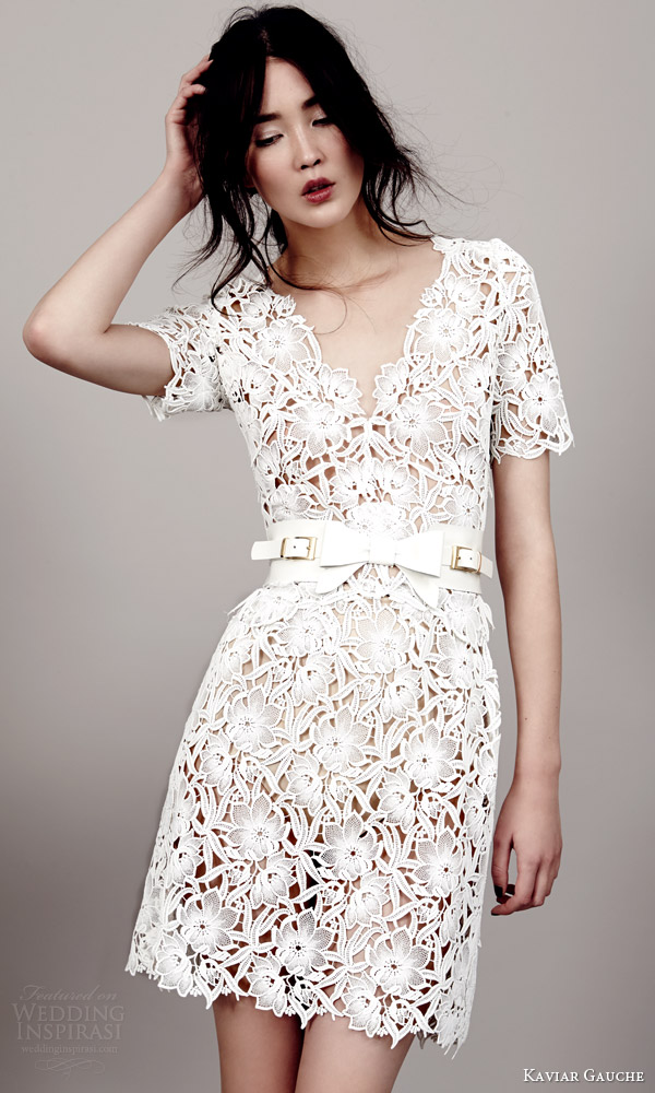 kaviar gauche couture bridal 2015 florence short sleeve guipure lace mini dress scalloped v neckline hem