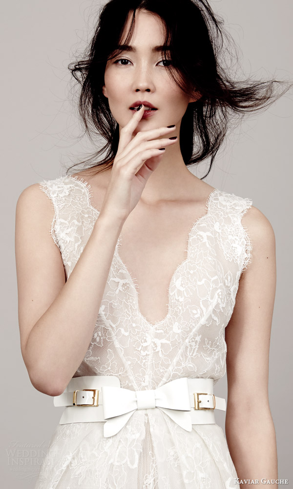 kaviar gauche couture bridal 2015 lovely sleeveless lace wedding dress scalloped v neckline armholes close up bodice