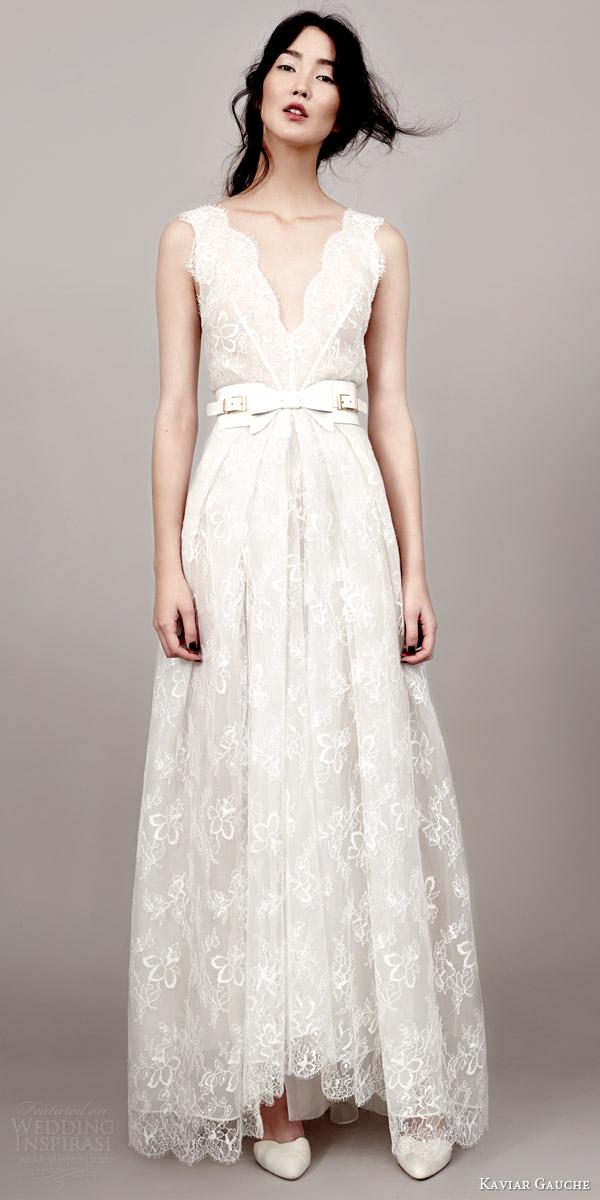 kaviar gauche couture bridal 2015 lovely sleeveless lace wedding dress scalloped v neckline armholes