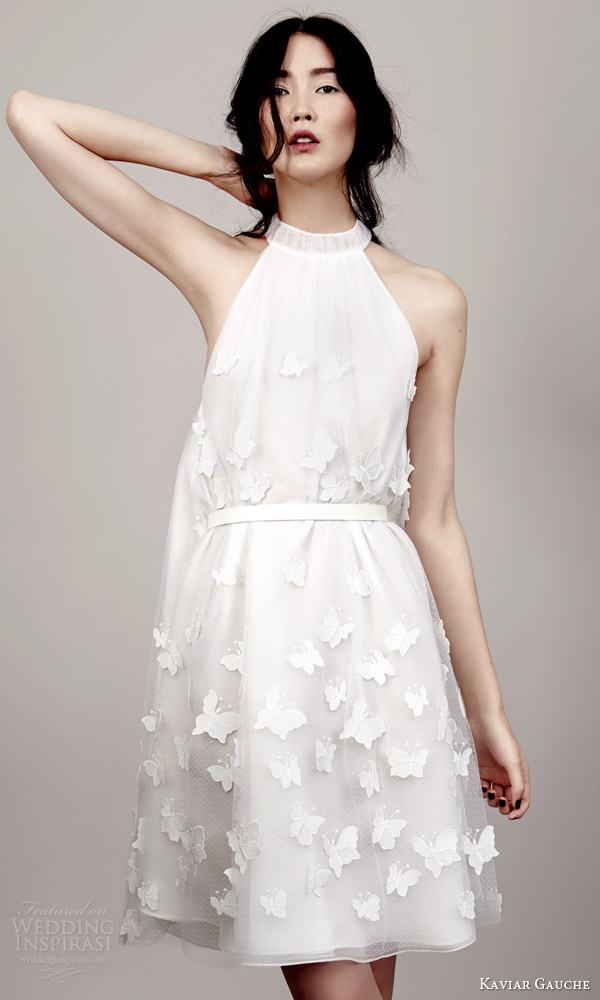 kaviar gauche couture bridal 2015 ophelia papillon sleeveless halter neck mini wedding dress