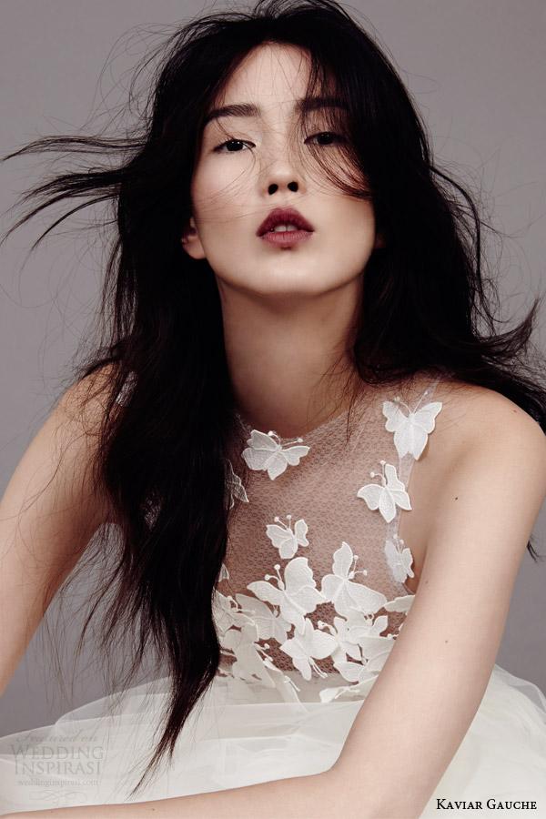 kaviar gauche couture bridal 2015 papillon d amour sleeveless wedding dress close up