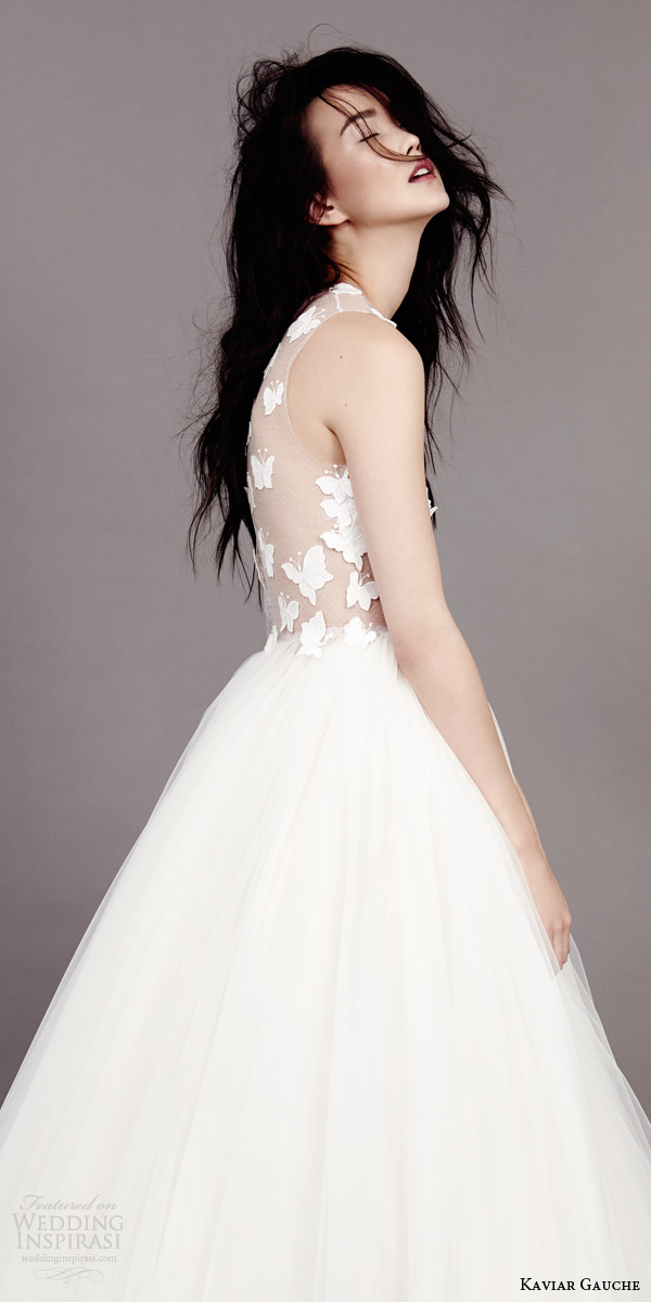 kaviar gauche couture bridal 2015 papillon d amour sleeveless wedding dress illusion bodice side view