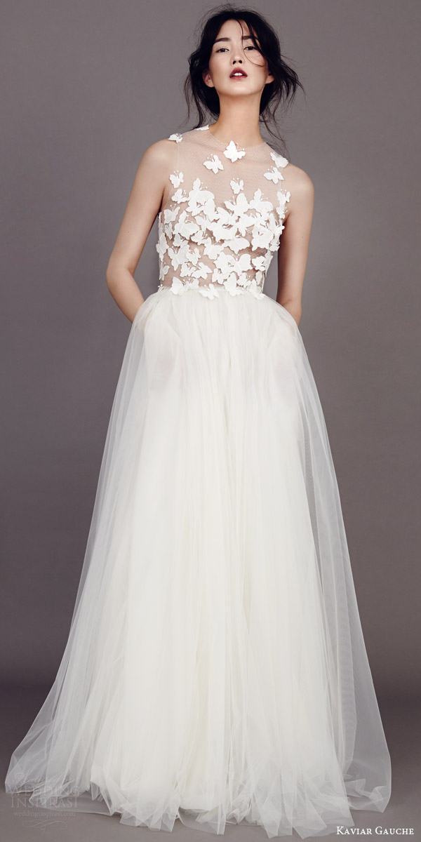 kaviar gauche couture bridal 2015 papillon d amour sleeveless wedding dress  illusion bodice.