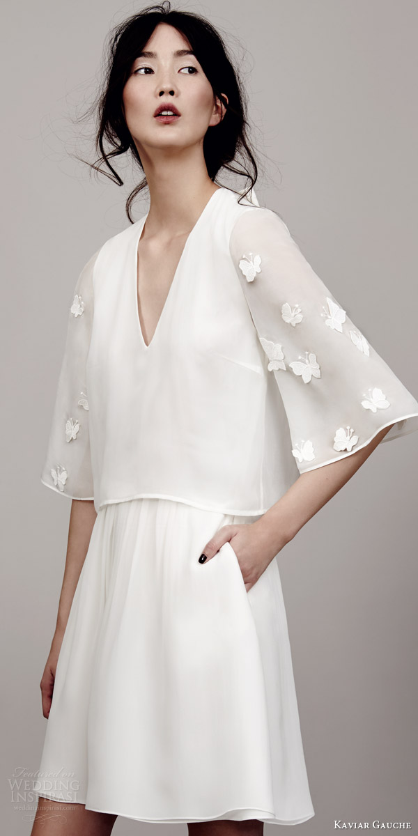 kaviar gauche couture bridal 2015 papillon sleeve mini dress kimono sleeves v neckline