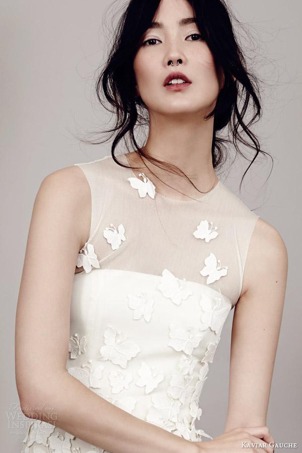 kaviar gauche couture bridal 2015 papillon sleeveless wedding dress illusion bodice close up view