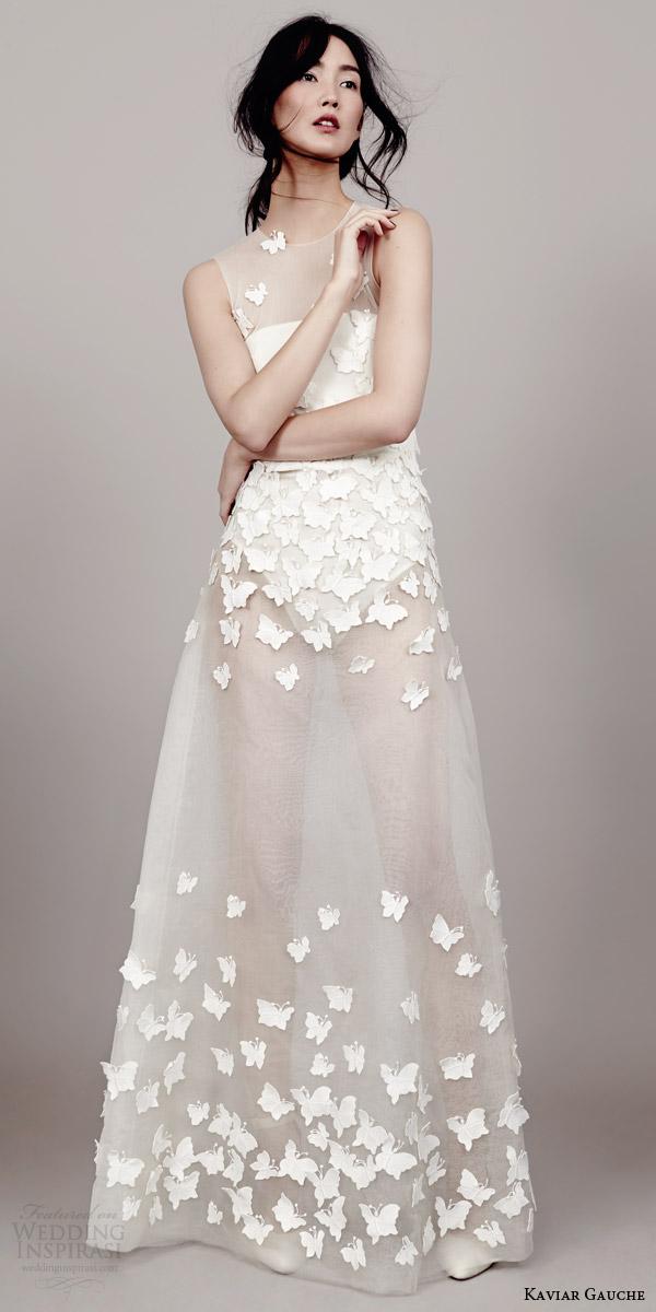 kaviar gauche couture bridal 2015 papillon sleeveless wedding dress illusion bodice front view