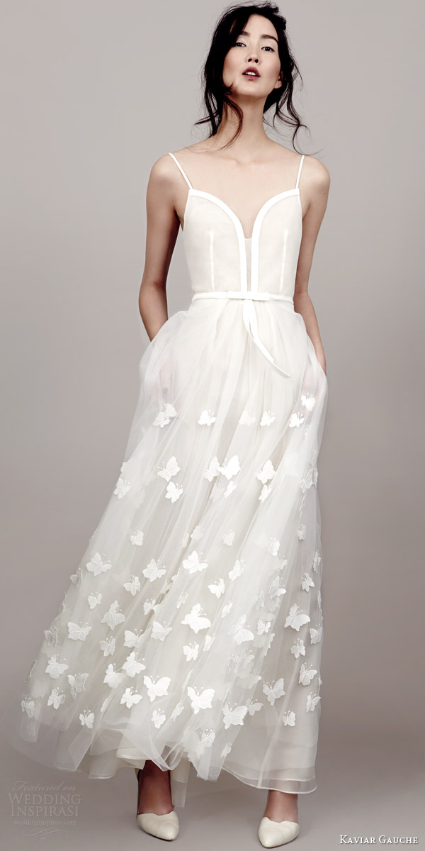 kaviar gauche couture bridal 2015 perfect papillon sleeveless wedding dress spaghetti straps