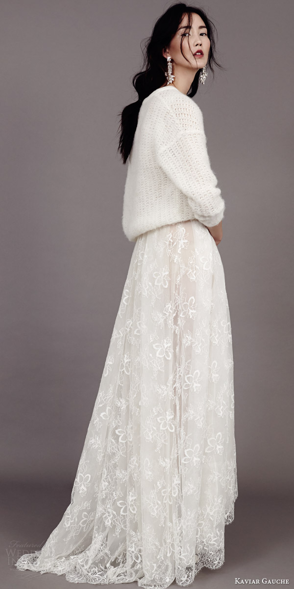 kaviar gauche couture bridal 2015 wedding dress with bridal knit sweater side view
