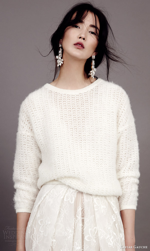 kaviar gauche couture bridal 2015 wedding dress with bridal knit sweater