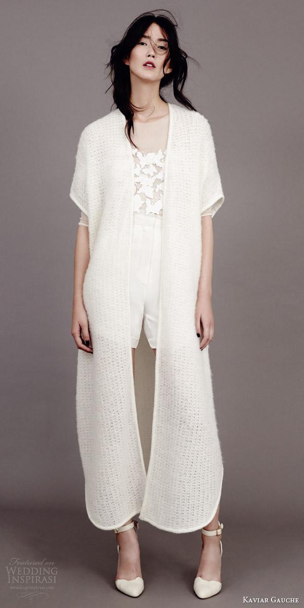 kaviar gauche wedding dress 2015 florence french top braid short bridal knit cape