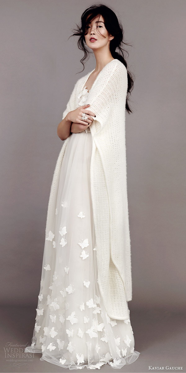 kaviar gauche wedding dress 2015 papillon bustier wedding dress bridal knit cape